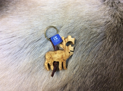 Keyring Reindeer with leatherband